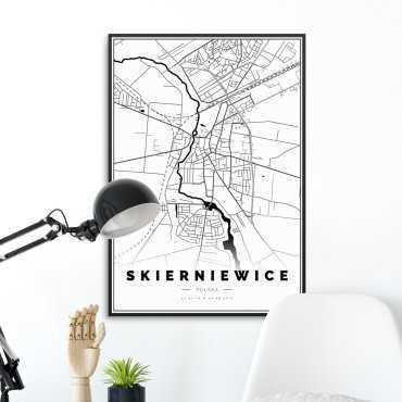 mapa skierniewic na plakacie w ramie