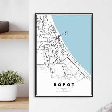 mapa sopot plakat w ramie