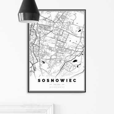 mapa sosnowiec plakat