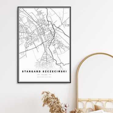 stargard szczeciński plakat z mapą