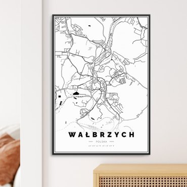 mapa wałbrzycha na plakacie