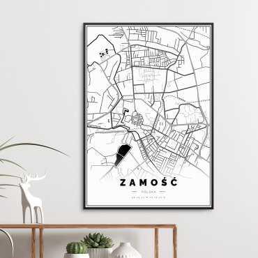 mapa Zamościa na plakacie w ramie