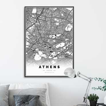 plakat w ramie mapa ateny