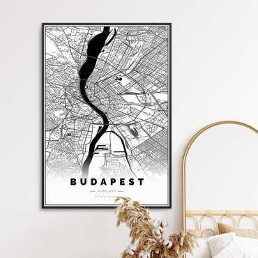 mapa budapesztu na plakacie