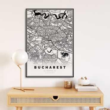 mapa bukareszt plakat w ramie
