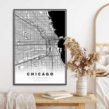 mapa chicago na plakacie w ramie