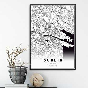 plakat z mapą dublina