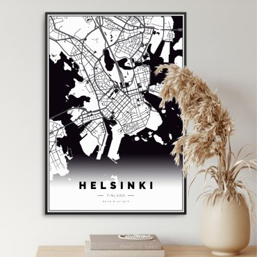 mapa helsinki plakat w ramie