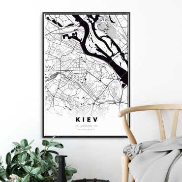 mapa kijów plakat w ramie