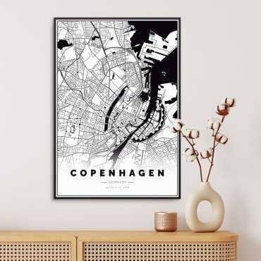 mapa kopenhagi na plakacie