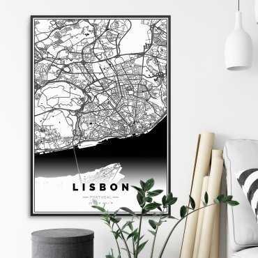 mapa lizbona plakat w ramie