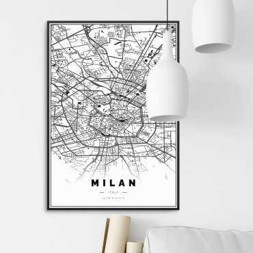 mapa mediolan plakat z ramą
