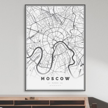 mapa moskwy plakat