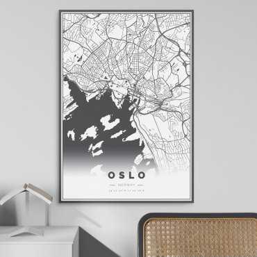 mapa oslo plakat w ramie
