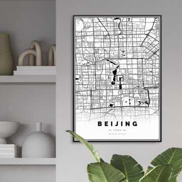 mapa pekin plakat w ramie