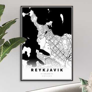 mapa rejkiawiku na plakacie