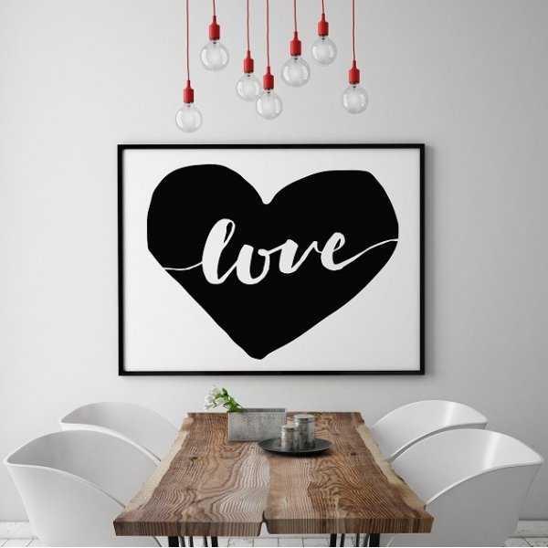 "SERCE ""LOVE"" - Plakat typograficzny"