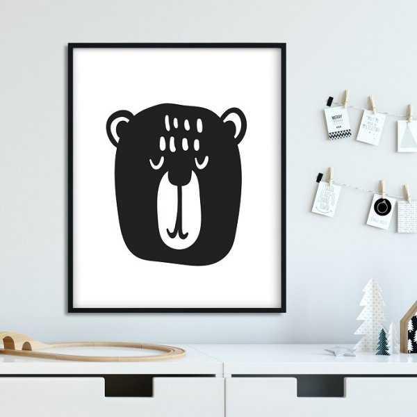 Scandi bear - Plakat dla dzieci