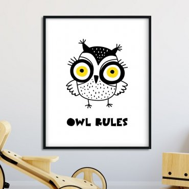 Owl Rules - Plakat dla dzieci