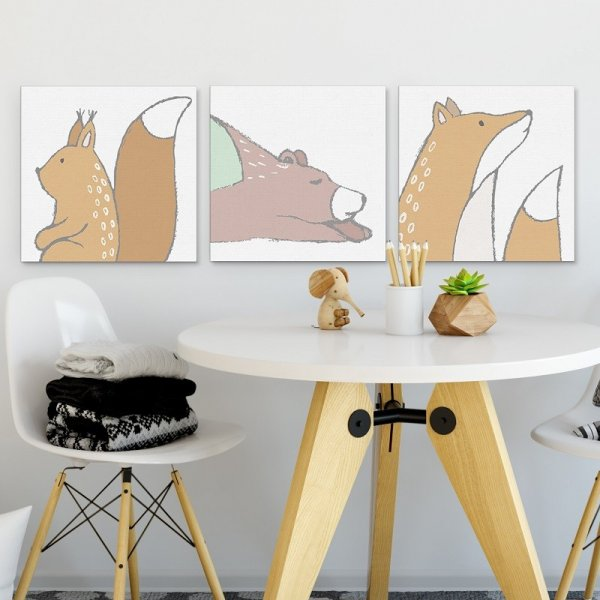 Zestaw obrazów dziecięcych - Forest Family