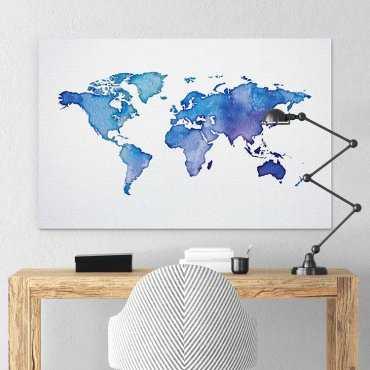 Modny obraz na płótnie - Blue World Map