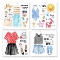 Komplet czterech obrazów na płótnie - Fashion Outfits