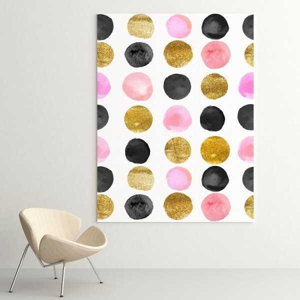 Modny obraz na płótnie - Golden-Pink Dots