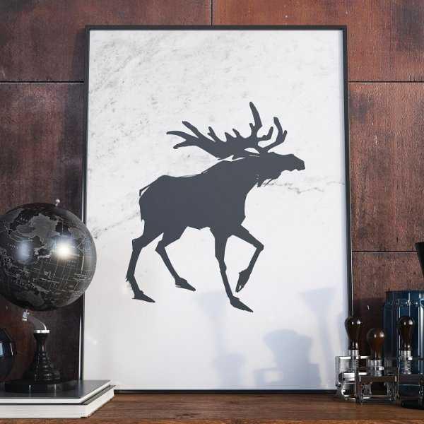 Plakat w ramie - Scandi Moose