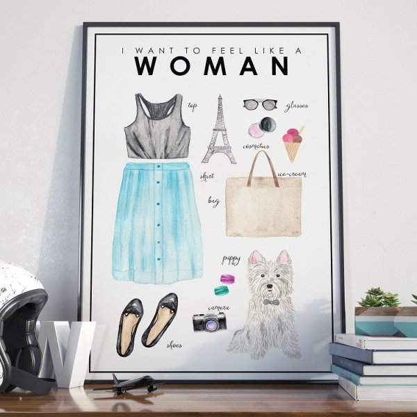 Plakat w ramie - I feel like a woman