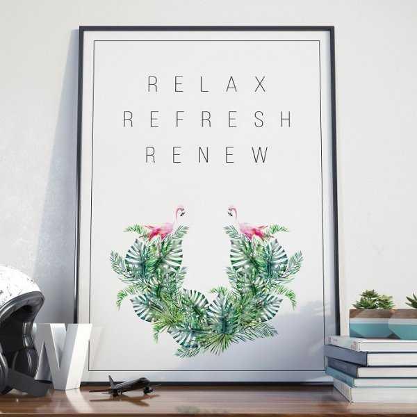 Plakat w ramie - Relax, Refresh, Renew