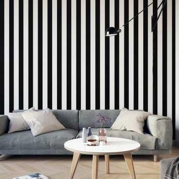 Tapeta na ścianę w czarno-białe pasy