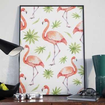 Plakat w ramie - Flamingos