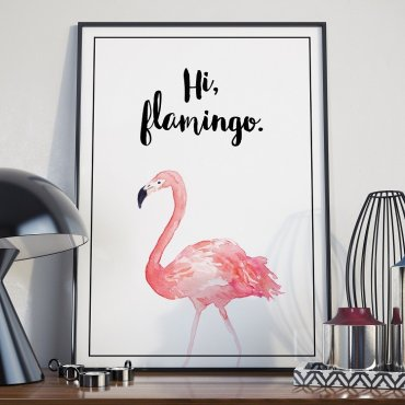 Plakat w ramie - Hi Flamingo