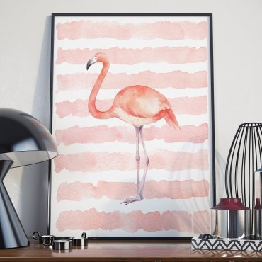 Plakat w ramie - Pink Flamingo