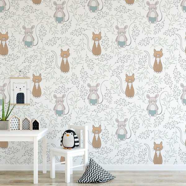 Tapeta dziecięca - MOUSE AND CAT