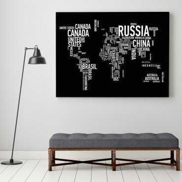 Typograficzna Mapa Świata - Obraz designerski