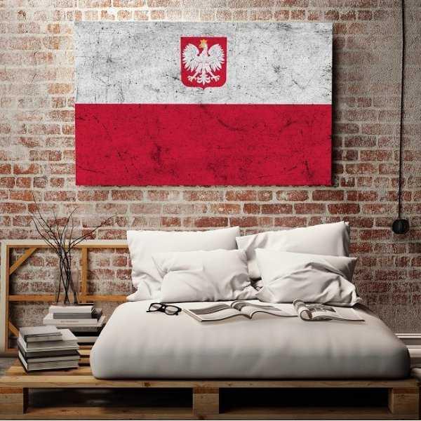Grunge'owa Flaga Polski - Obraz designerski