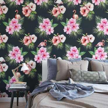 Tapeta na ścianę - FLAMINGO FLOWERS