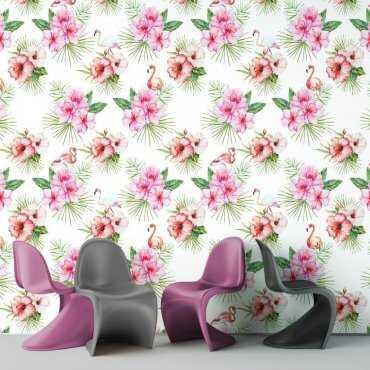 Tapeta na ścianę - FLAMINGOS FLOWERS
