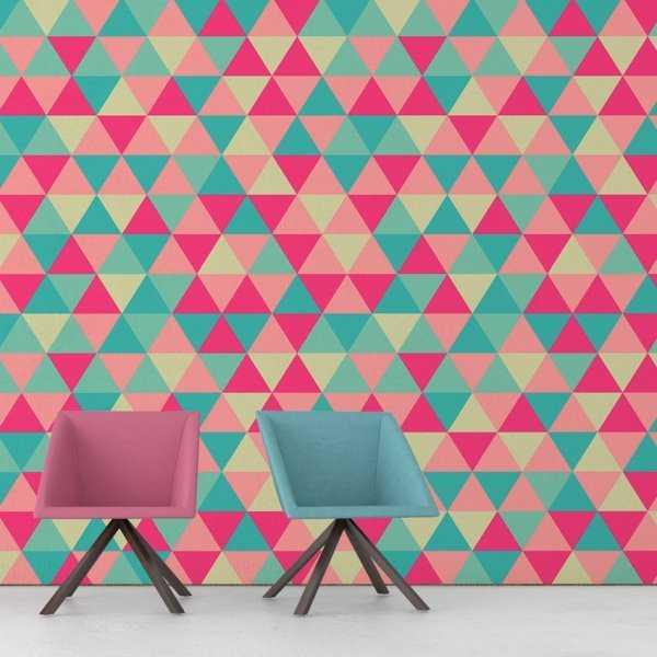 Tapeta na ścianę - GREEN AND PINK TRIANGLE
