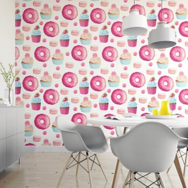 Tapeta na ścianę - PINK DONUTS