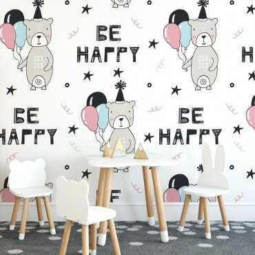 Tapeta dziecięca - BE HAPPY