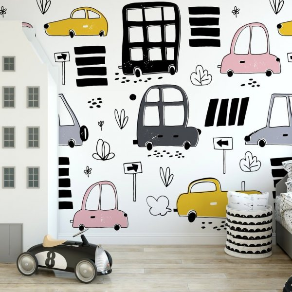 Tapeta dziecięca - PASTEL CARS