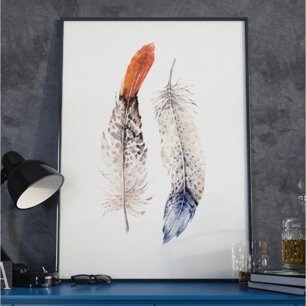 Plakat w ramie - Boho Feathers