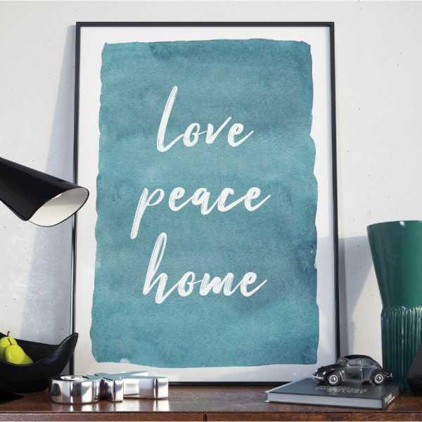 Plakat w ramie - Love Peace Home