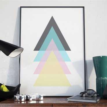Plakat w ramie - Triangle Pastel