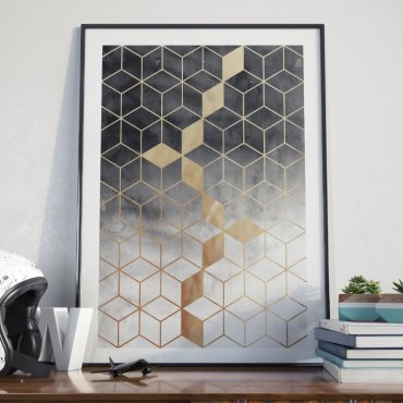 Plakat w ramie - Golden Geometry