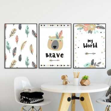 Zestaw plakatów dziecięcych - BOHO BEAR
