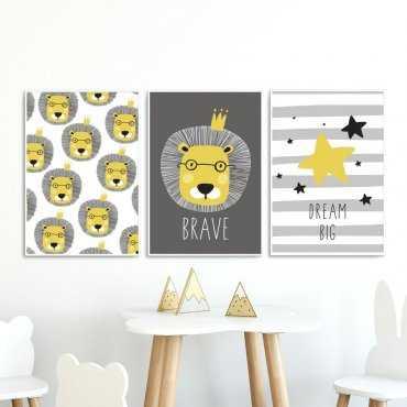 Zestaw plakatów dziecięcych - BRAVE LION