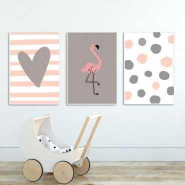 Zestaw plakatów dziecięcych - FLAMINGO HEART